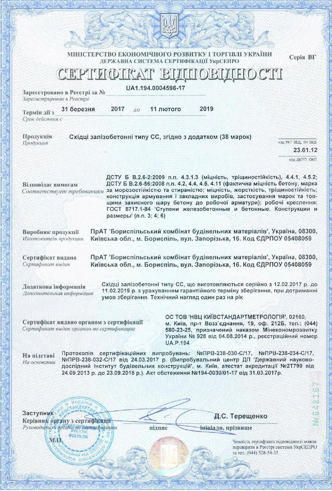 Сертификат на лестничные ступени