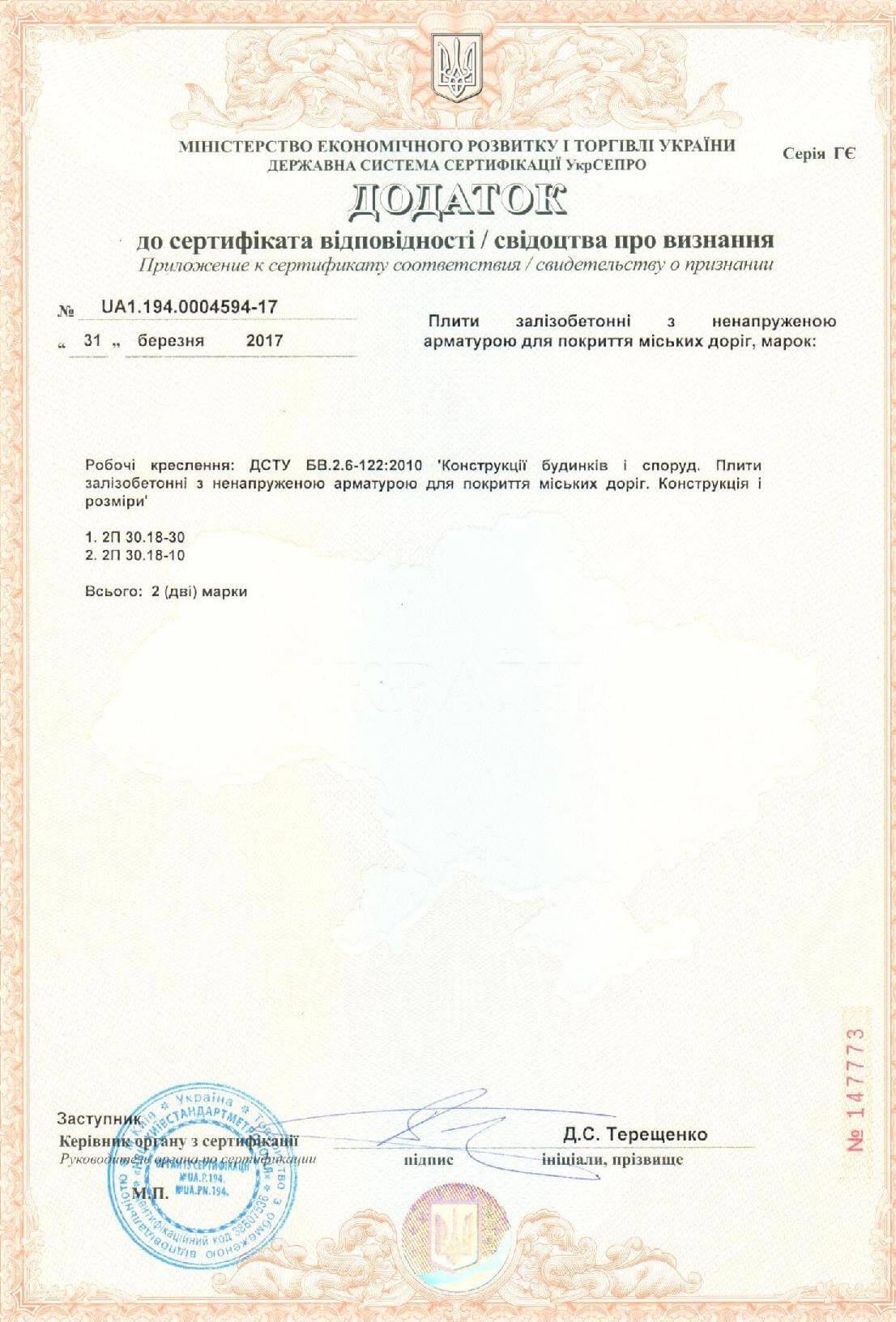 Дополнение к сертификату на жб плиты дорожные